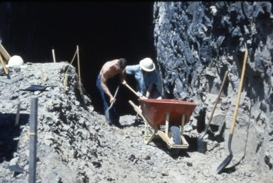 Removing fill from the opening of the cave 1964