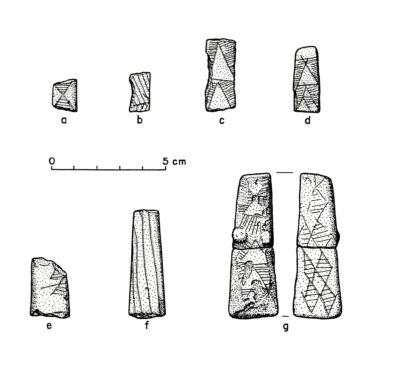 Incised clay objects from Squirt Cave (45WW25): a) triangular hatched elements; b) chevron design; c) triangles terminating at the tip; d) triangles with lines that cross at the apex; e) triangles with an internal parallel line pattern; f) parallel lines running longitudinally; g) two fragments of one object; diamond-shaped elements with an internal hatched pattern on one face and a radiating pattern of lines extending from the sides of the triangles with raised, embossed elements on the other face (source: Endacott 1992:84-86; Figure 18; illustration by Sarah Moore).