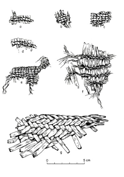 Basketry and matting from Squirt Cave (45WW25): a) open simple twined basketry with sagebrush bark (Artemisia sp.) warps and grass (Gramineae) Z-twist weft; b) close simple twined basketry with Z-twist weft; c) close simple twined basketry with Z-twist weft made from tule (Scirpus acutus); d) open simple twined grass basketry with Z-twist weft; e) close simple twined basketry with Z-twist weft; f) open simple twined sagebrush (Artemisia sp.) basketry with Z-twist weft; g) twilled tule (Scirpus validus) matting (source: Endacott 1992: 108-109, Figure 22; illustration by Sarah Moore).