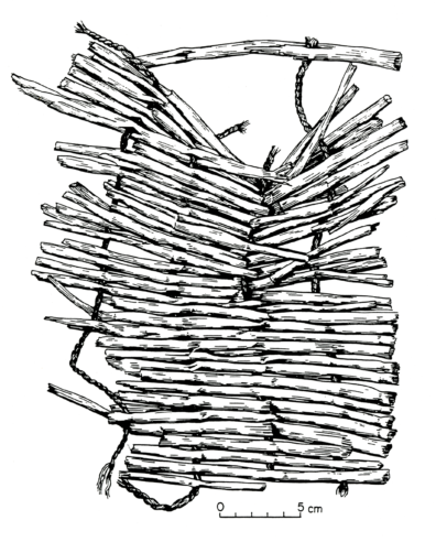 Simple sewn matting with S-twist weft. The warps are tule (Scirpus validus) and the wefts are sagebrush bark (Artemisia sp.) (source: Endacott 1992:110-112, Figure 23; illustration by Sarah Moore).
