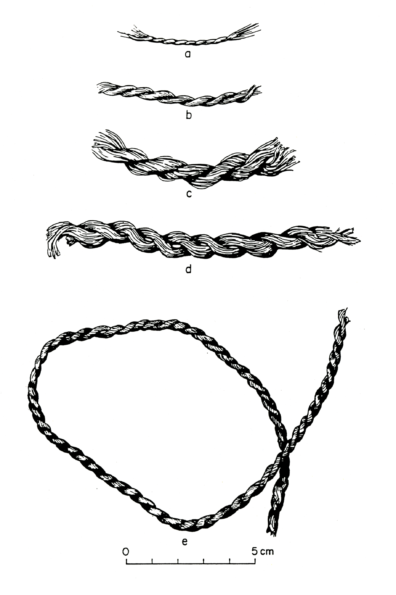 Grass cordage from Squirt Cave (45WW25): a-c, e) S-twist; d) Z-twist (source: Endacott 1992:115, Figure 24; illustration by Sarah Moore).