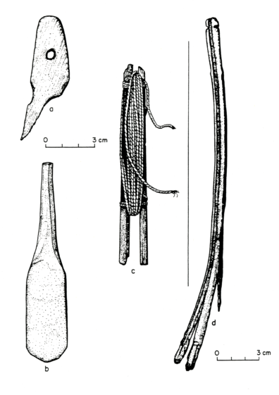 Wooden artifacts from Squirt Cave (45WW25): a) perforated wooden object; b) spoon or spatula; c) shuttle with cordage; d) carrying handle (note scale change) (source: Endacott 1992:118, Figure 25; illustration by Sarah Moore).