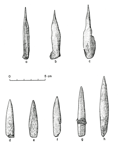 Bone and antler tools from Squirt Cave (45WW25): a) awl made of the split, proximal end of deer metatarsal; b and c) awls made of deer scapula; d-h) polished and ground pointed tools made from antler (source: Endacott 1992:93-98; Figure 19; illustration by Sarah Moore).