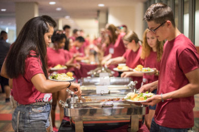 Students enjoy a meal prepared by University Catering.