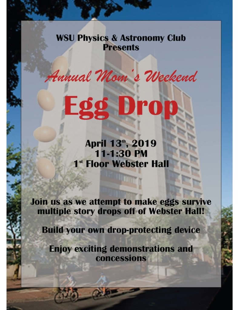 Mom's Weekend Physics Club Egg Drop 2019 Poster