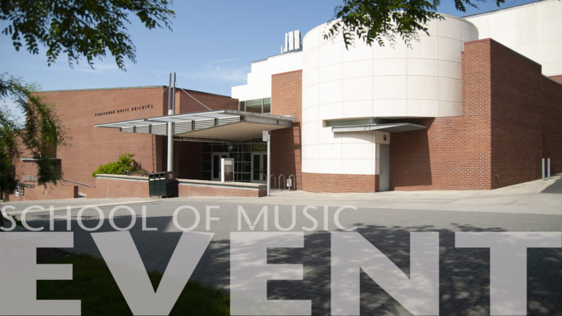 "A photo of the Kimbrough Music Building with ""School of music event"" text"