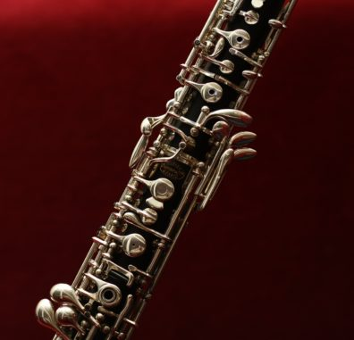 a close up photo of the neck of an oboe