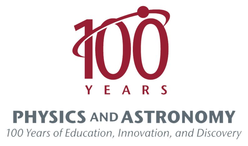 100 years physics and astronomy logo