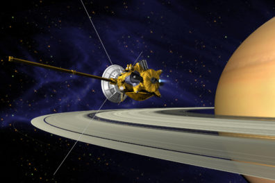 A simulated picture of the Cassini orbiting Saturn