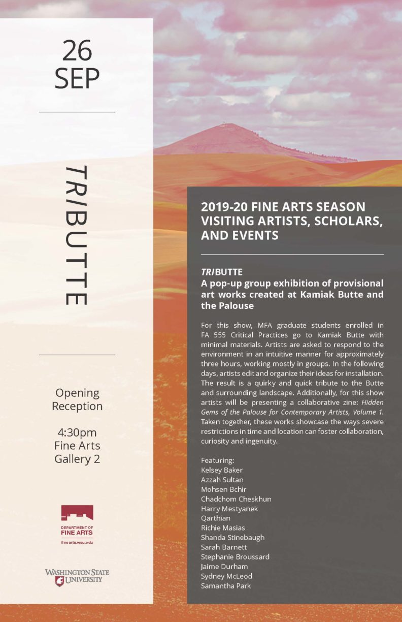 Fine Arts season visiting artists , scholars and events Tributte flyer