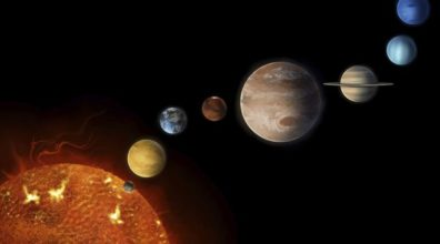 a simulated picture of the solar system and all of the planets