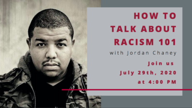 Flier advertising the How to Talk About Racism 101 event