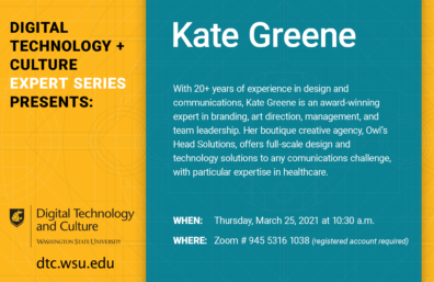 DTC Expert Series flyer for March 25th event with presenter Kate Greene
