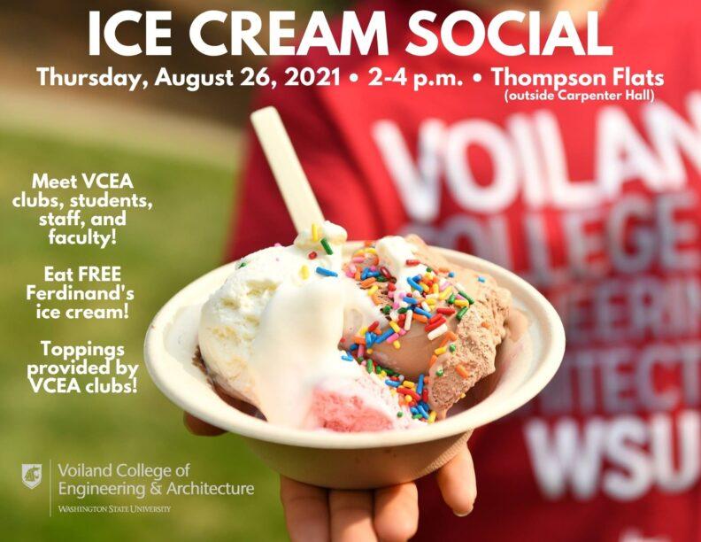 Ice Cream Social Thursday August 26, 2021 2-4 pm Thompson Flats (outside Carpenter Hall)