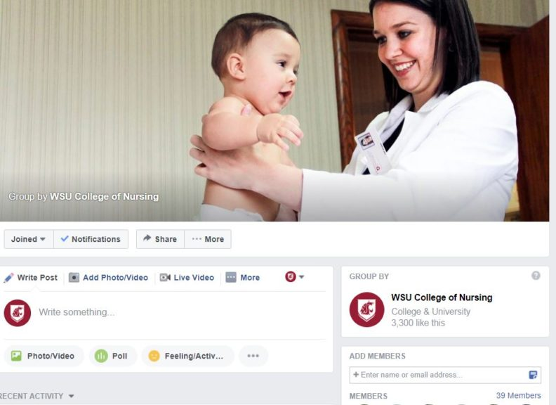 screenshot of facebook group