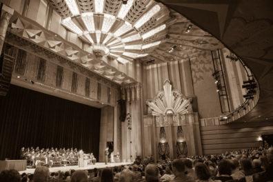 sepia image of interior of Fox Theater
