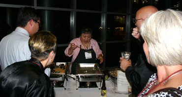 Attendees sample the fine foods produced by Washington state agriculture.