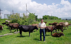 A cattle farmer on a recently privatized farm outside Tbilisi, the capital of Georgia.
