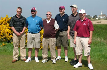 L-R: Kyle Thomas, Jerry Langreder, Bill Johnston, Shaun Knutzen, Marcus Harness, Chris Consienne. Johnston was the team's study-abroad faculty advisor and is a professor of Crop and Soil Sciences.