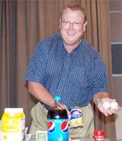 WSU food science professor Jeff Culbertson brings edible props to class. Photo by Linda Weiford, WSU News.
