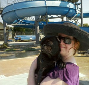 Linda Crook and her pug, Viola, enjoying a day at the Hamilton Aquatic Center in Moscow.