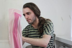 Gordon Stumpo works on a mannequin at WSU. Photo by Nella Letizia. Click image for a high-resolution version.