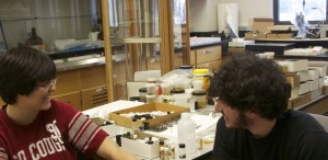 Laura Hamada, a biology student, and Noah Austin, a physics and music student, talk about the insects in the lab.