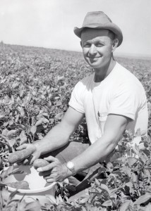 Bud Mercer working out in the potato fields.