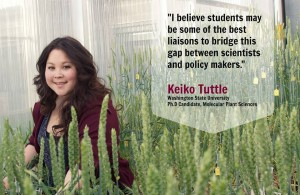 Keiko Tuttle in the small grain plant growth facility at WSU in Pullman. (Photo by Rachel Webber, WSU). View on Facebook.
