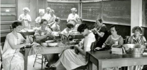 Making baskets at one of the early Farm Women's camp held at WSU in Pullman. This year's Women in Ag Conference will focus on change. (Photo courtesy of WSU Libraries).