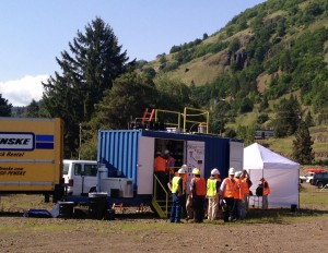 One of two mobile pyrolysis units demonstrated the conversion of biomass to bio-oil and biochar in Bingen, Washington. Photo by Waled Suliman, WSU.