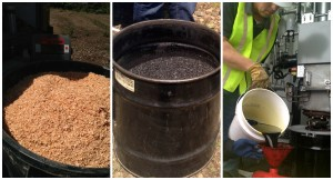 Woodchips (left) are processed in the mobile pyrolysis unit to become biochar (middle) and bio-oil (right). Photo by Waled Suliman, WSU.