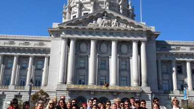 Arch 309 class with Professor Phil Gruen in front of San Francisco City  Hall.