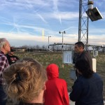 AgWeatherNet Director Gerrit Hoogenboom shows WSU vitculture and enology students how the weather station on the Tri-Cities campus works. The program manages 160 automated weather stations across Washington.
