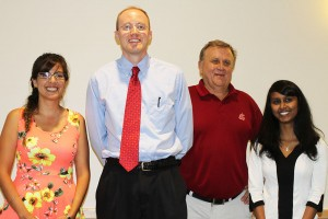 Presentation contest winners Nadia Valverdi, Nic Loyd and Bhanu Donda, with IAREC director Gary Grove.