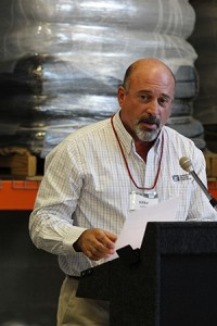 Mike Miller, Washington Grain Commission member, speaks during a dedication ceremony for the new Washington Grains Plant Growth Facility.