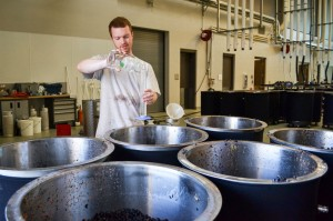 Alumnus Colin Hickey at work at the WSU Wine Science Center.