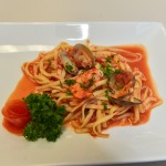 Seafood fettucini after processing.