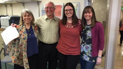 Laura Hill, Tom Power, Ashley Beck, and Brittany Cooper celebrate Beck's successful defense of her doctoral dissertation in April.