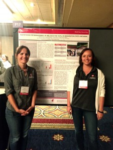 Professor of Horticulture, Michelle Moyer (left) and Katherine East, graduate student, pose next to East's poster presentation at the ASEV National Conference in Monterey, Calif.