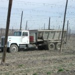 Biosolids being spread on agricultural fields. Photo: A. Bary.