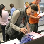 Enology certificate students practice lab skills during the Fall 2016 Wine Camp