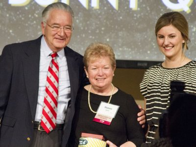 Bunny Quirk, center, shares a testimonial with her scholarship recipient, Rylee Suhadolnik, joined by Dean Ron Mittelhammer, left, at CAHNRS Honors.