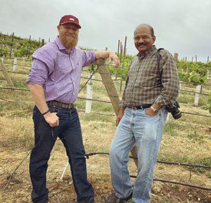 Andrew Schultz and Naidu Rayapati partner to keep Schultz' Wapato vineyards healthy (WSU photo).