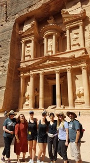 Interior Design students explore the ancient site of Petra during a July 2017 study trip.