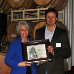Dr. Kim Kidwell (left) with award recipient Yakima Basin Cost-Benefit Analysis Research Team's leader Jonathan Yoder (right)