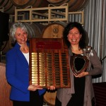 Dr. Kim Kidwell (left) and award recipient Laura Lavine (right)