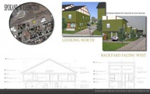 Drawing by students of a design for Habitat for Humanity.