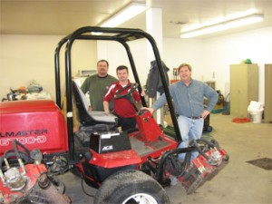L-R Mike Bednar (B.S. Turf Management option, 2004), Palouse Ridge Golf Course assistant superintendent; Todd Lupkes, Palouse Ridge Golf Course superintendent; and Charles Golob, long-time research technician supervisor in WSU's turf management program.