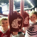 Kellan and Grace DeMeerleer, son and daughter of Chuck ('01, Ag. Econ.) and Abbie ('05, Ag. Comm.; '11, MED Higher Ed. Leadership & Admin.), show support for their future alma mater.